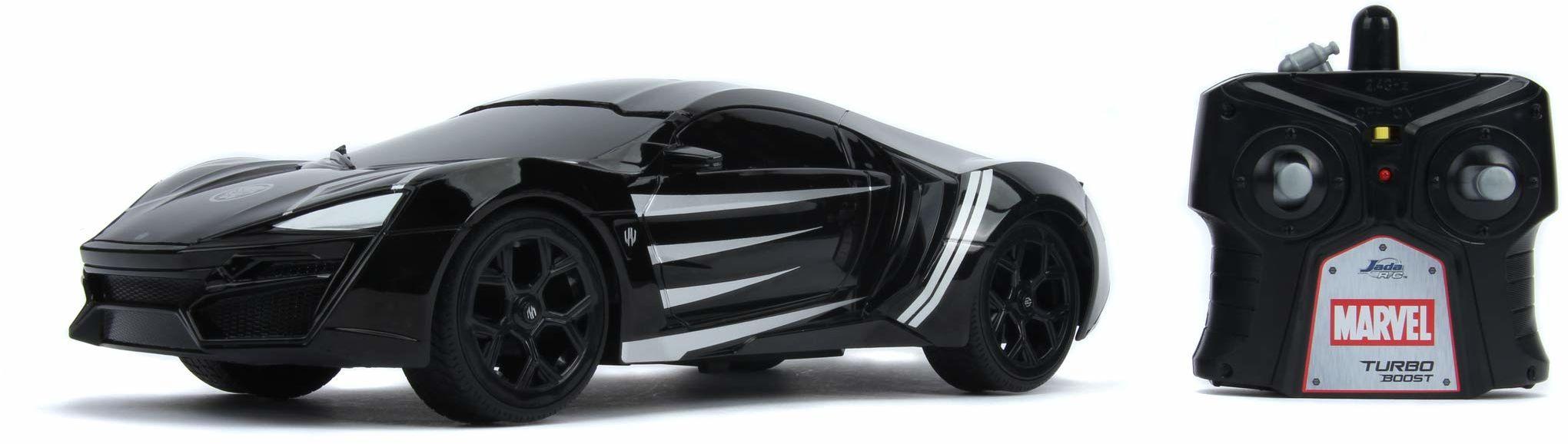 Jada Toys 253226001 Marvel Black Panther Lykan Hypersport, funkcja turbo, RC, zdalnie sterowany samochód z pilotem zdalnego sterowania, do przodu i do tyłu, skala 1:16, funkcja ładowania USB, czarny