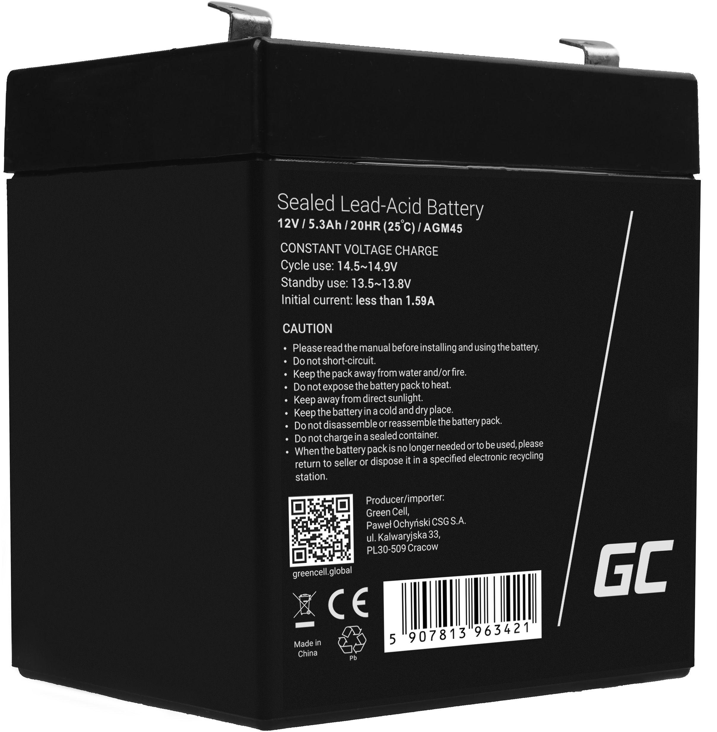 Green Cell AGM VRLA 12V 5.3Ah bezobsługowy akumulator do systemu alarmowego kasy fiskalnej zabawki