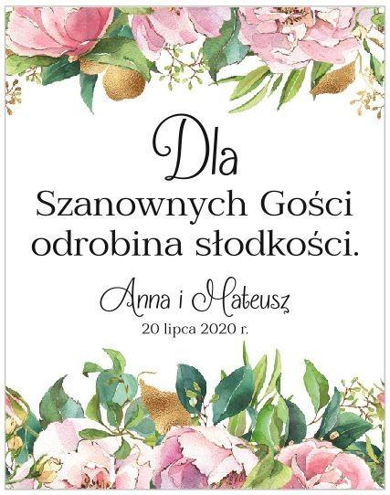 Etykiety z Podziękowaniem - Białe Kwiaty
