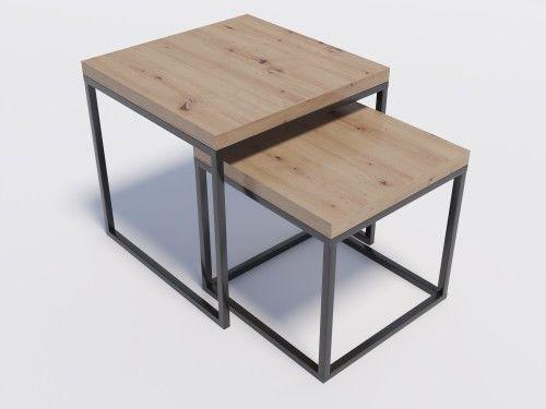 Zestaw stolików kawowych DUO1 Dąb Artisan 3,6 cm