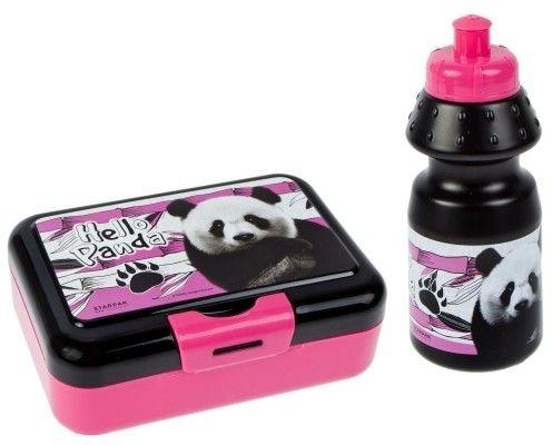 Zestaw pojemnik śniadaniowy z Bidonem na napój Panda Śniadaniówka dla dzieci