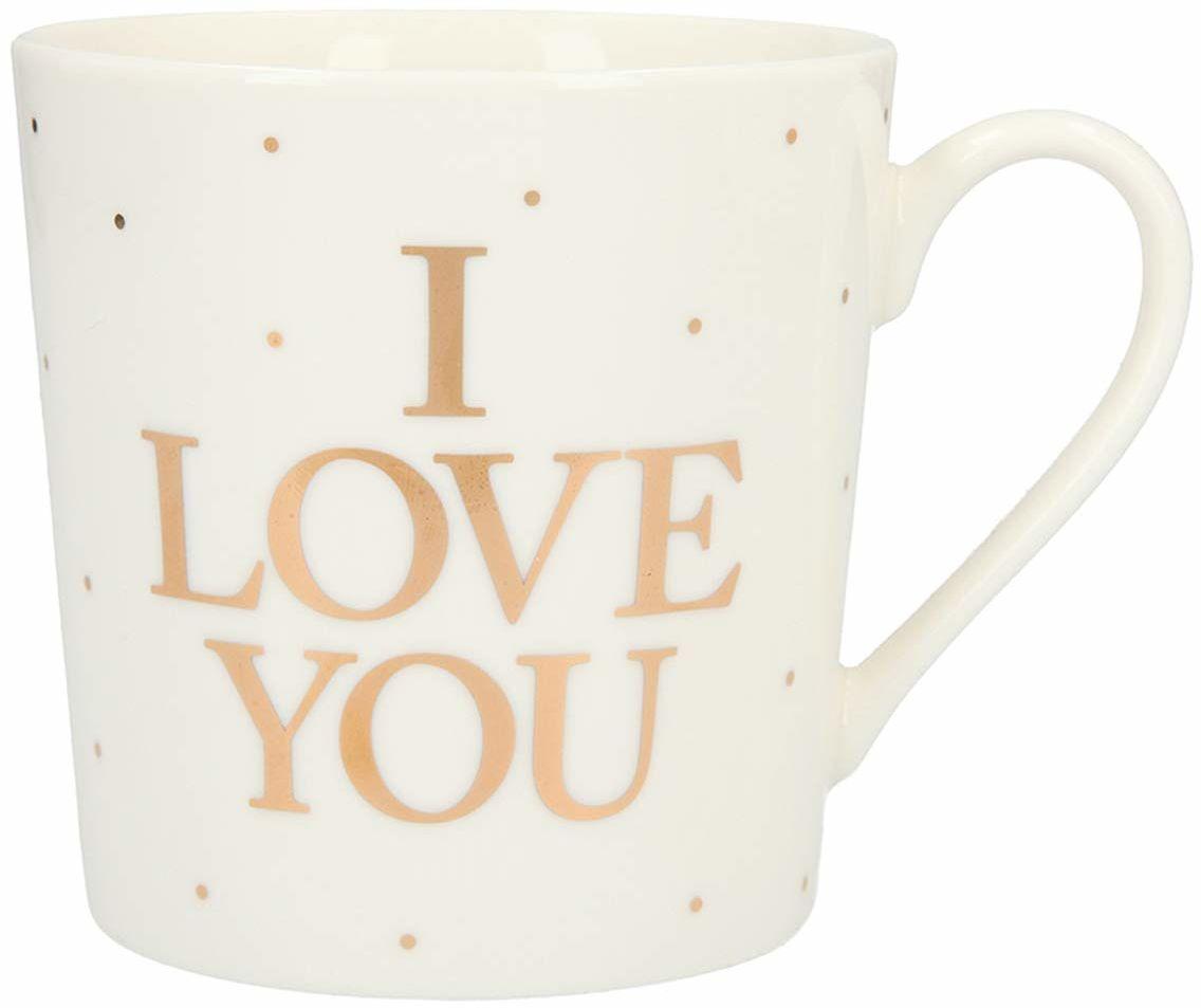Depesche 5909.012 filiżanka z uchem, z porcelany, 300 ml, z napisem, I Love you, wielokolorowa