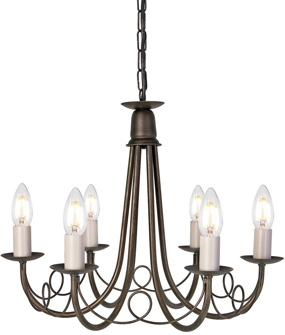 Żyrandol Minster MN6 BLK/GLD Elstead Lighting dekoracyjna oprawa w kolorze czarno-złotym
