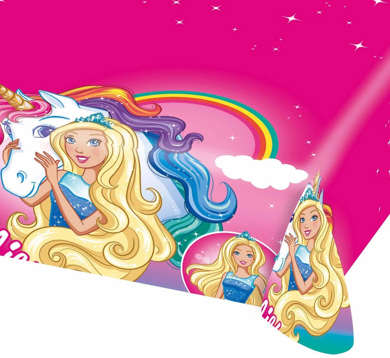 amscan 11012123 Barbie Dreamtopia różowy plastikowy obrus - 1 szt.