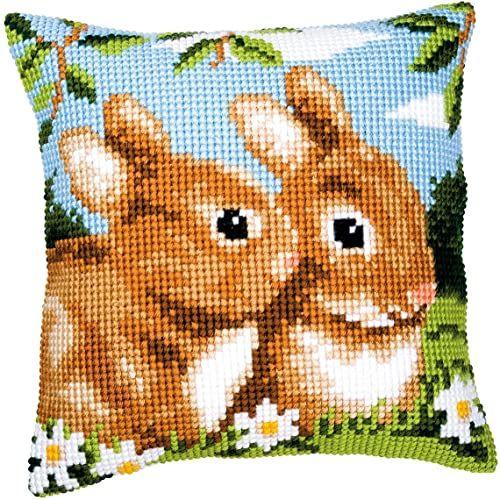 Vervaco Bunnies poduszka do haftu krzyżykowego, wielokolorowa, jedna