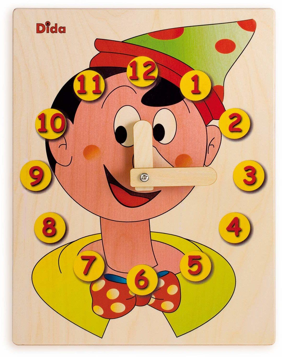 Dida - Zegar do nauki dla dzieci  Pinocchio  nauka się i zabawy, zegar do nauki dla dzieci z drewna, do przedszkola, szkoły i do domu