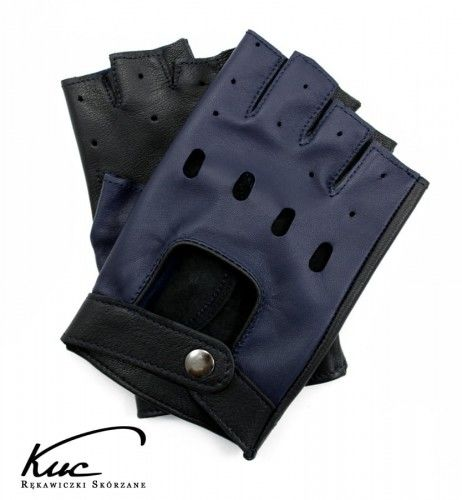 Męskie rękawiczki bez palców - granatowo-czarne