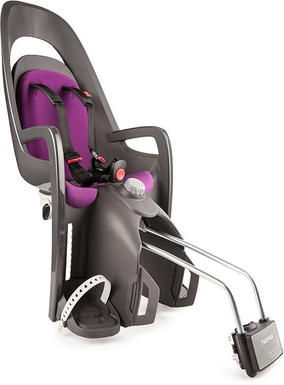 Fotelik rowerowy HAMAX CARESS szary, purpurowa wyściółka
