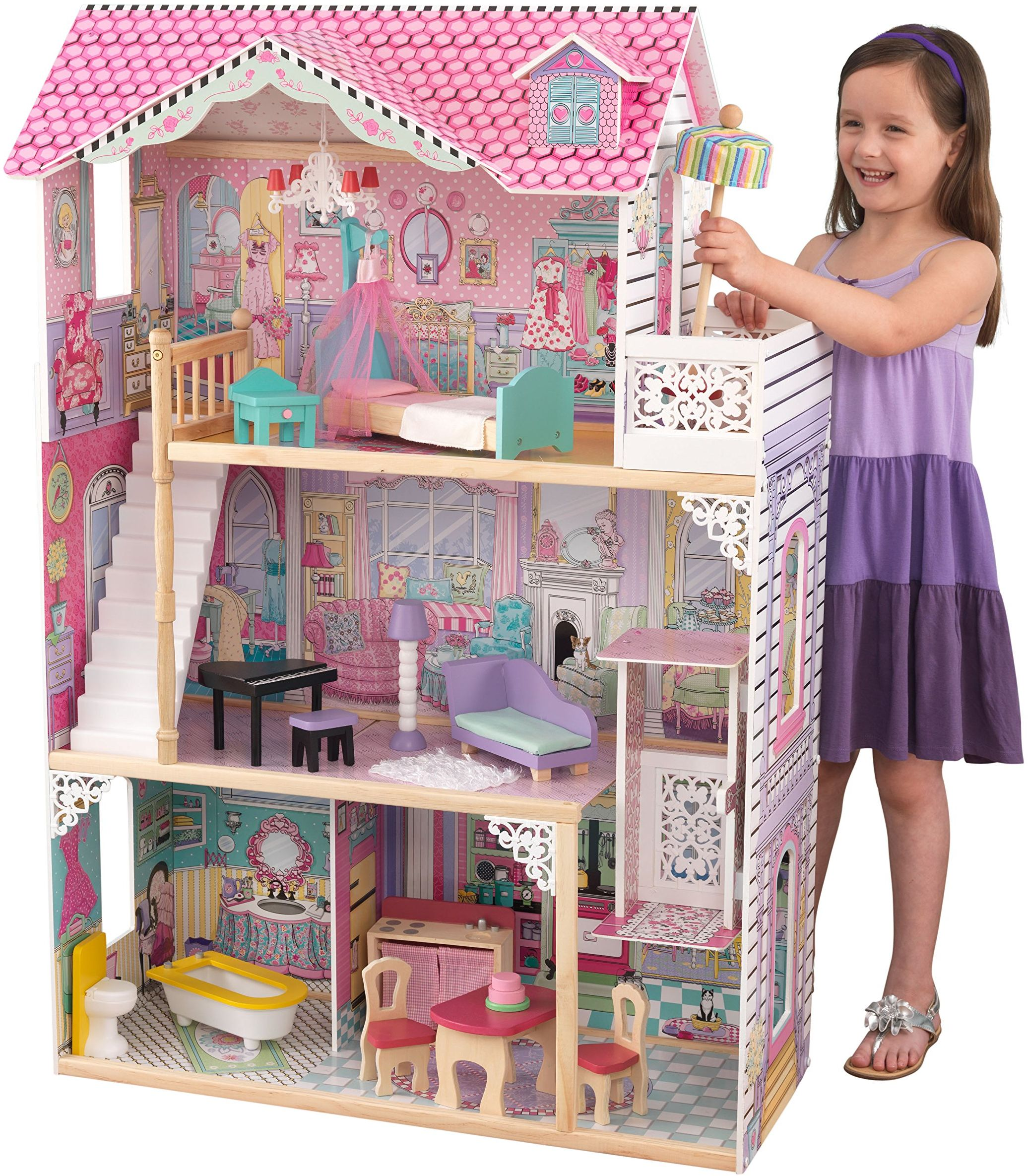 KidKraft 65934 Annabelle drewniany domek dla lalek z meblami i akcesoriami w zestawie, 3-piętrowy zestaw do zabawy dla lalek 30 cm / 12 cali
