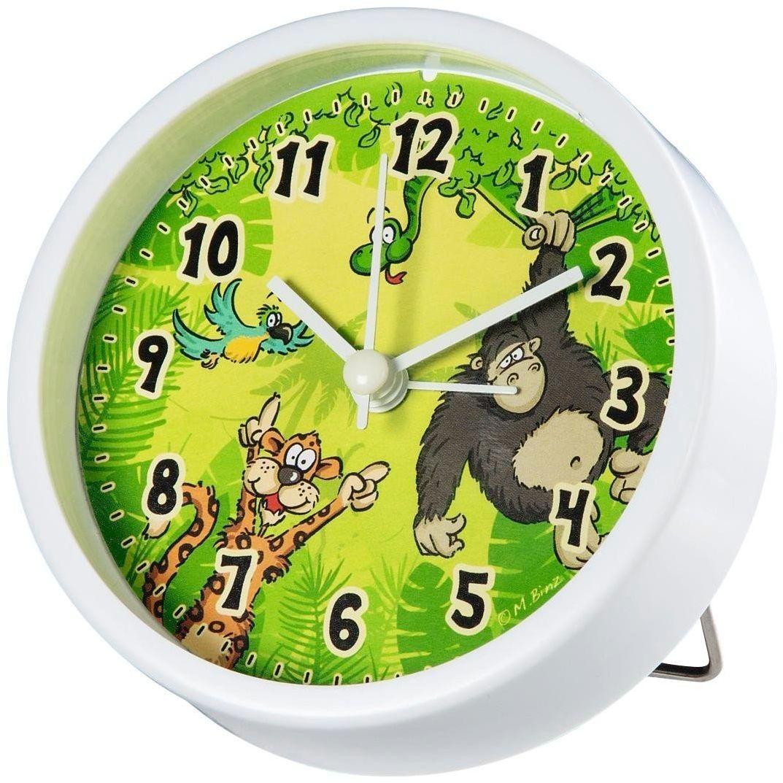 """Hama budzik dziecięcy bez tykania""""dżungla"""" (analogowy budzik dla dzieci, cichy, z motywem dżungli), zielony"""