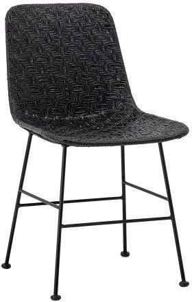 Krzesło rattanowe z wrzozystym siedziskiem Czarne