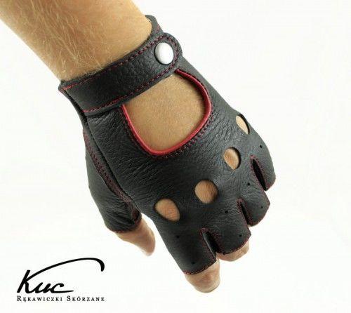 Rękawiczki bez palców ze skóry jelenia - rękawiczki rowerowe, samochodowe - z czerwonym szwem
