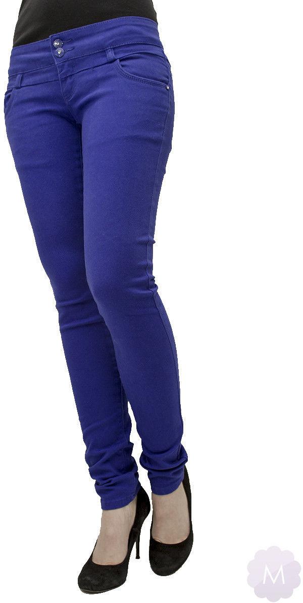 Spodnie jeansowe rurki biodrówki niebieskie - NIEBIESKI CIEMNY