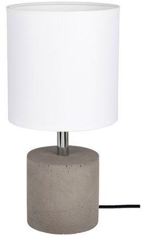 Lampa stołowa STRONG 1-punktowa lampa o szarej betonowej podstawie z abażurem z białego materiału 6091936
