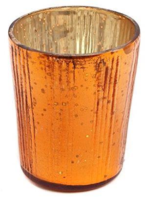 Insideretail Ltd Świąteczne świeczniki na podgrzewacze szklane, pionowe z efektem postarzanej folii pomarańczowej, 7 cm, zestaw 48, 7 x 7 x 7 cm