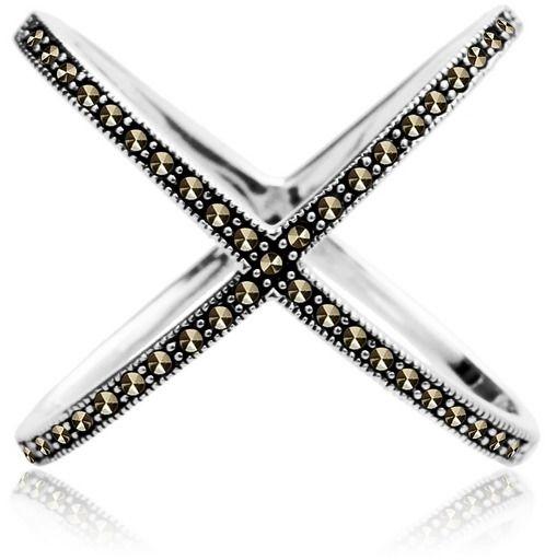 Staviori pierścionek. markazyty. srebro 0,925. posiada dwa różne rozmiary - w szerz i w zdłuż