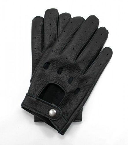 Czarne rękawiczki samochodowe ze skóry jelenia - rękawiczki do prowadzenia auta