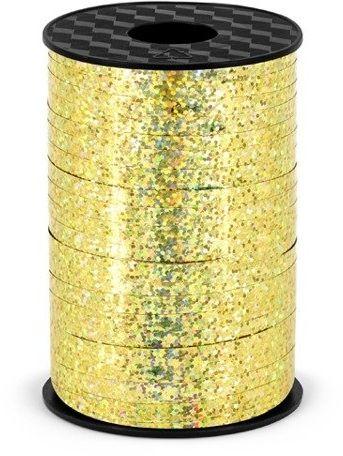 Wstążka plastikowa holograficzna do balonów złota 5mm 225m PRH5-019