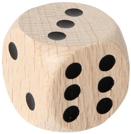 Duża drewniana kostka do gry 2 cm
