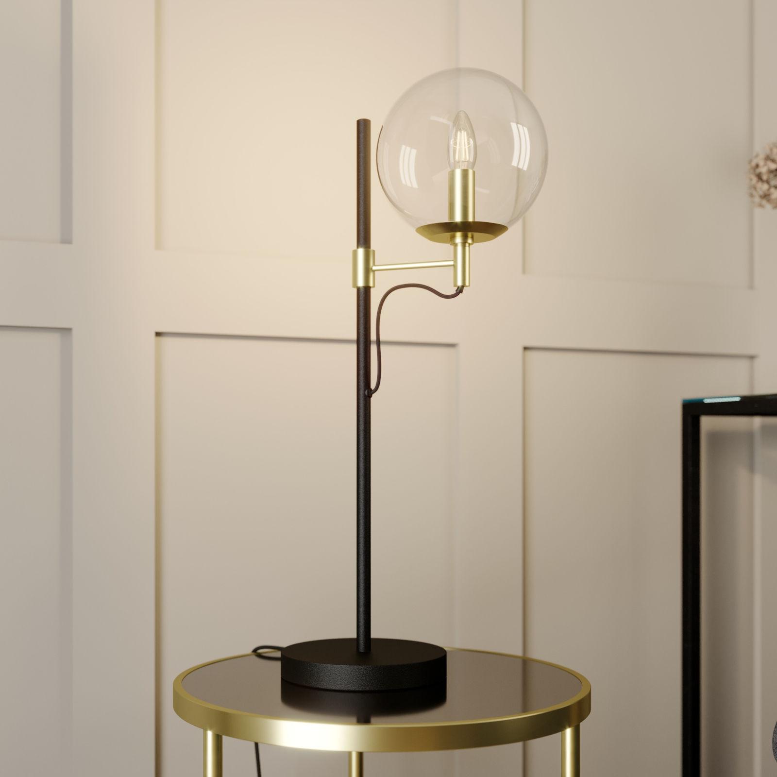 Lucande Sotiana lampa stołowa szklana kula mosiądz