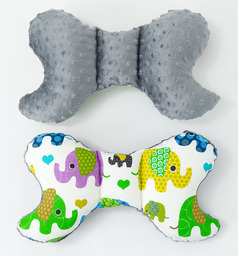 MAMO-TATO Poduszka antywstrząsowa motylek Słoniaki zielone / szary