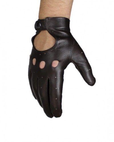 Brązowe, skórzane rękawiczki samochodowe Kuc
