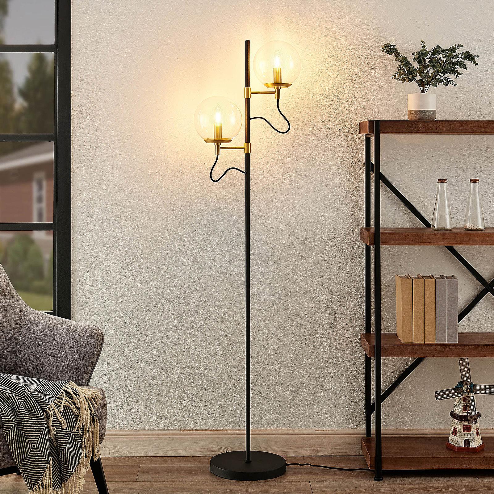 Lucande Sotiana lampa stojąca szklane kule mosiądz