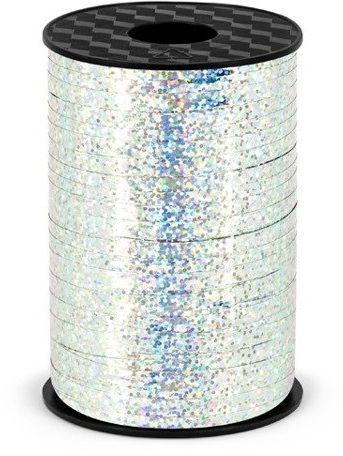 Wstążka plastikowa holograficzna do balonów srebrna 5mm 225m PRH5-018