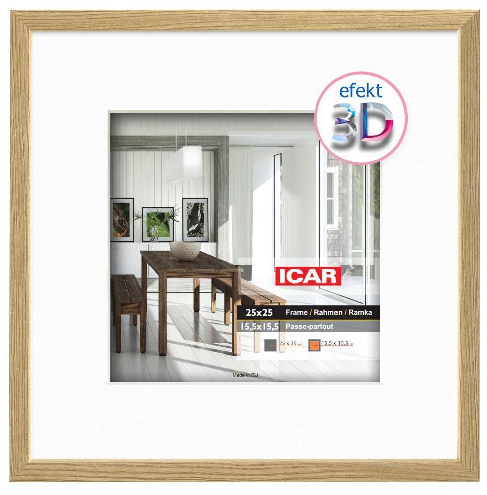 Ramka na zdjęcia Efekt 3D 15 x 15 cm dąb drewniana