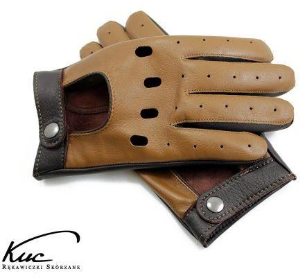 Brązowe rękawiczki samochodowe, dwa odcienie brązu
