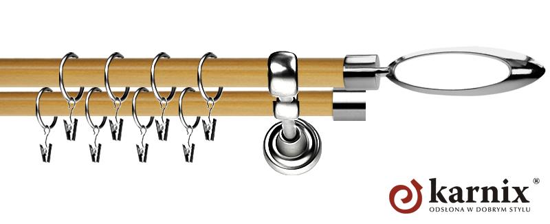 Karnisz Metalowy Prestige podwójny 19/19mm Mirella INOX - pinia
