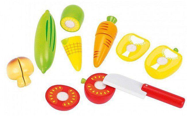 Drewniany zestaw do krojenia z warzywami, 51598-Goki, zabawy w kuchnie dla dzieci