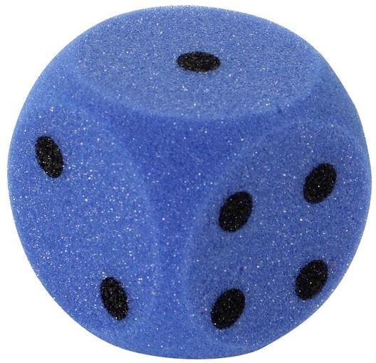 Duża kostka do gry z materiału piankowego 7 cm niebieska