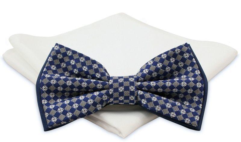 Niebiesko-Szara Mucha z Białą Poszetką -CHATTIER- Męska, Wzór Geometryczny MUCH0464