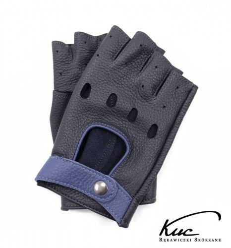Rękawiczki bez palców ze skóry jelenia - granatowe z niebieskimi elementami