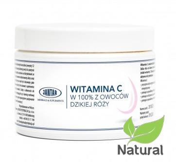 Naturalna Witamina C 100% z dzikiej róży w proszku 300g Jantar