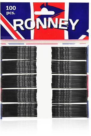 Ronney Profesjonalne wsuwki do włosów Długie, czarne, karbowane 100 szt.