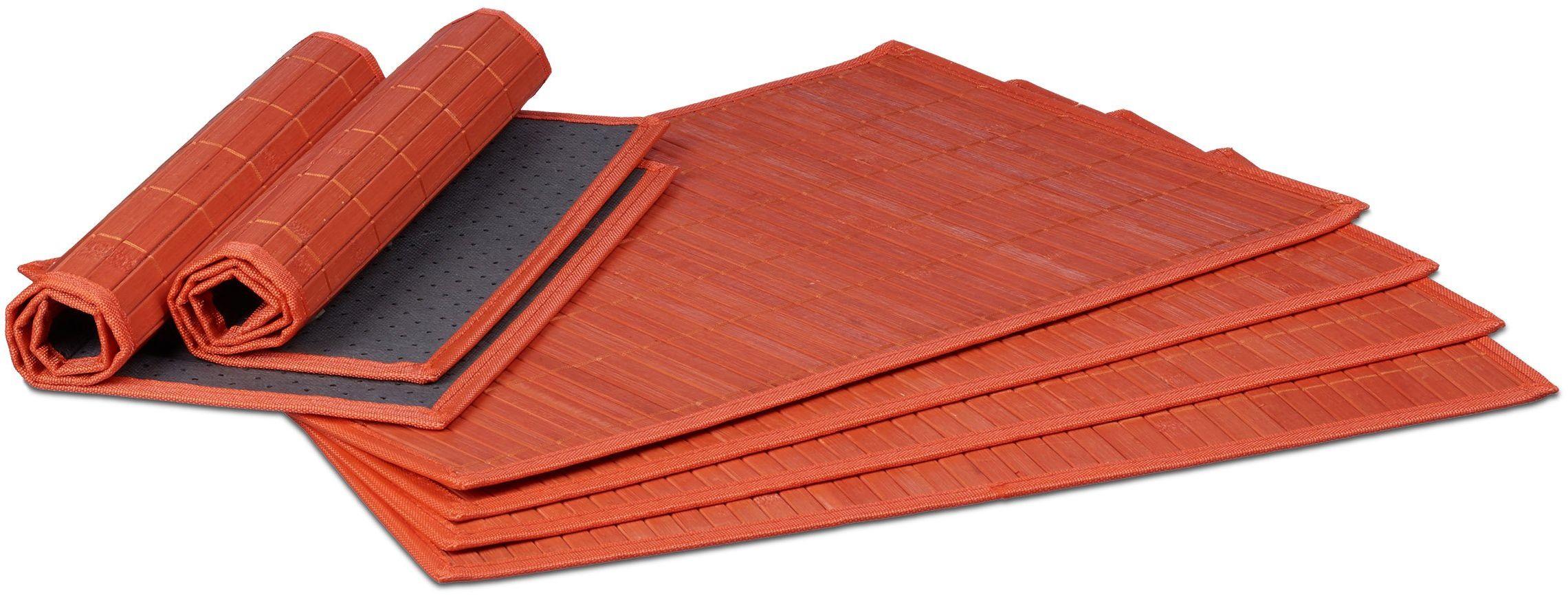 Relaxdays Zestaw 6 podkładek stołowych, zestaw 6 antypoślizgowych, nadających się do mycia bambusowych mat na stół 30 x 45 cm, czerwone, 30 x 45 x 0,3 cm