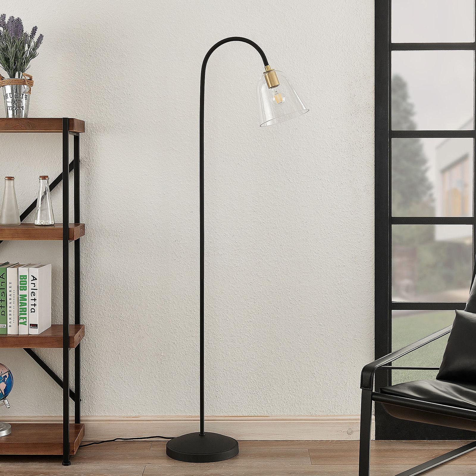 Lucande Anjita lampa podłogowa, szklany klosz