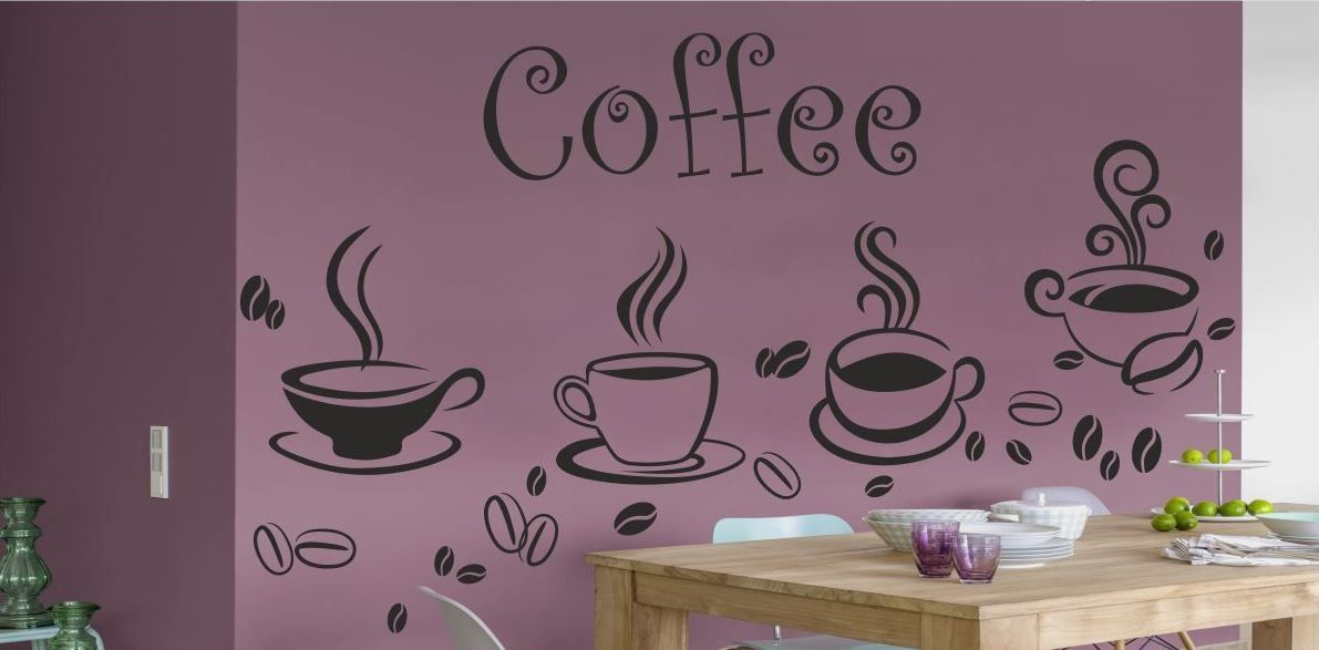 Filiżanki z kawą ziarna i fantazyjny napis Coffee