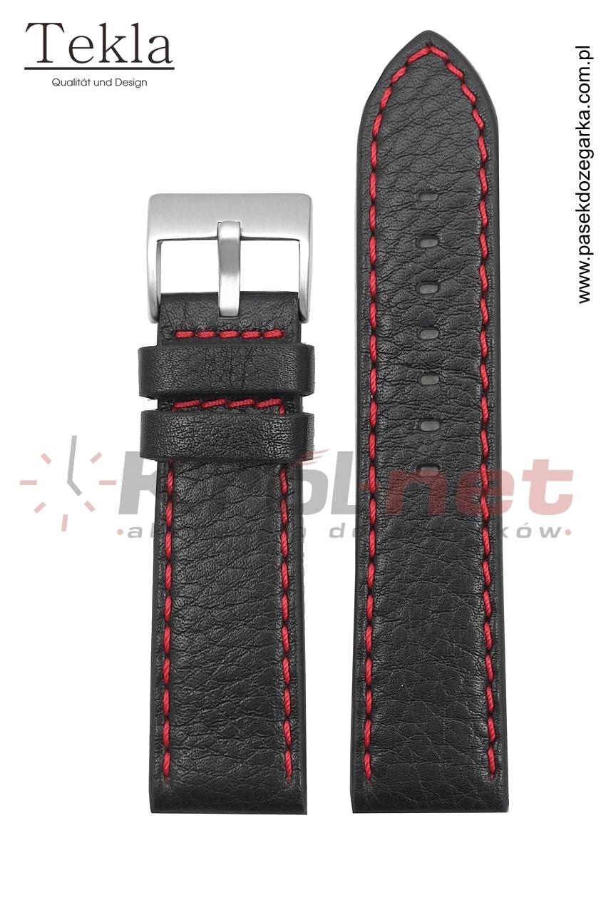 Pasek TK002/CZ/22 - czarny, czerwone przeszycia