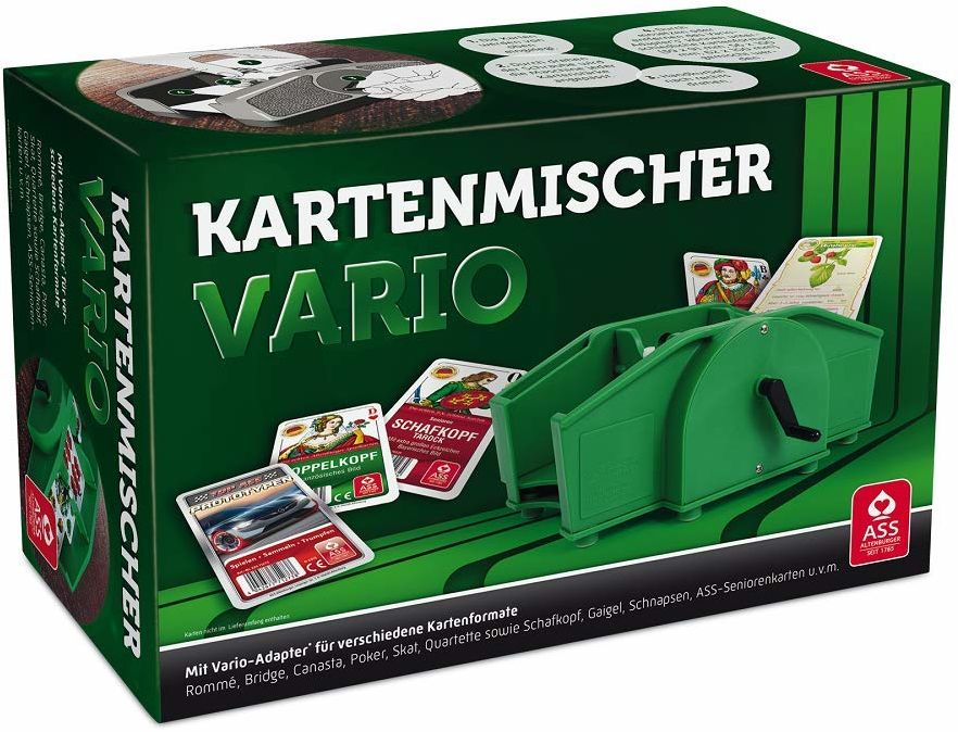 ASS Altenburger 22574033 - mieszacz kart Vario z korbą ręczną, nadaje się do różnych formatów kart, w kartonie składanym, zielony, szerokość: 24,30 cm wysokość: 15,70 cm długość: 10,60 cm