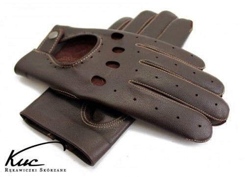 Skórzane rękawiczki samochodowe brązowe z beżowym szwem