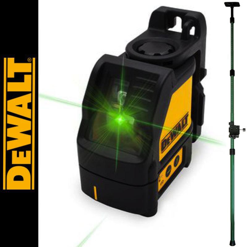 Laser liniowy krzyżowy, zielony DW088CG DEWALT + Tyczka rozporowa 3,2m SurvGeo
