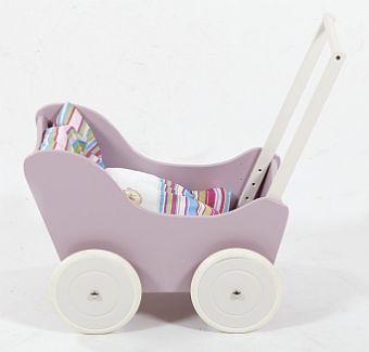 Liliowy wózek z drewna dla lalki - zabawki dla dziewczynek