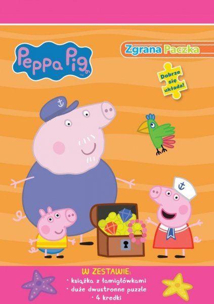Świnka Peppa Zgrana paczka 1 (książka + duże puzzle + 4 kredki)