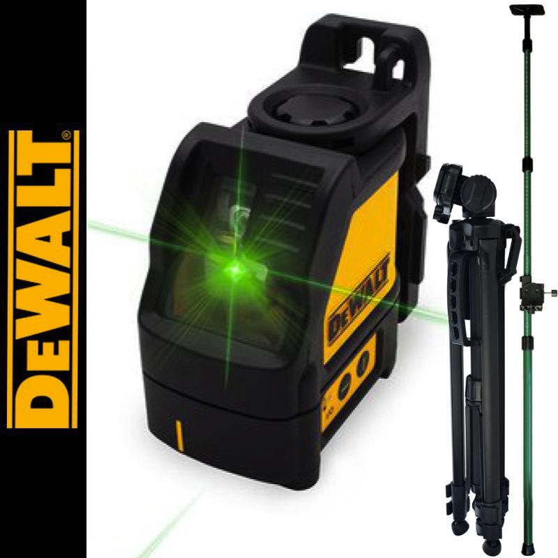 Laser liniowy krzyżowy, zielony DW088CG DEWALT + Tyczka rozporowa 3,2m SurvGeo + Statyw aluminiowy 1,4m
