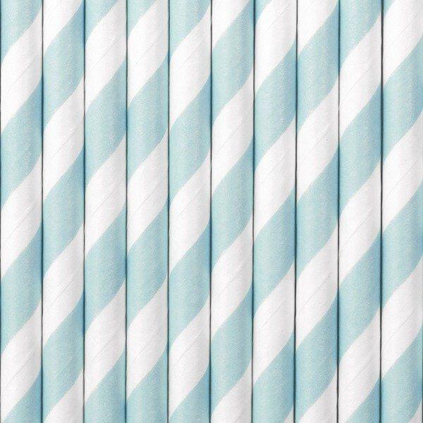 Słomki papierowe j. niebieskie w paski 10szt SPP1-001J