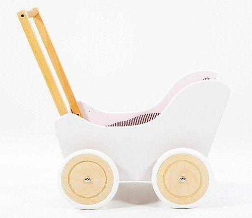 Biało-brązowy wózek z drewna dla lalki - zabawki dla dziewczynek