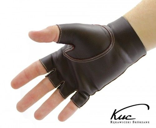Skórzane rękawiczki bez palców, brązowe z beżowym szwem